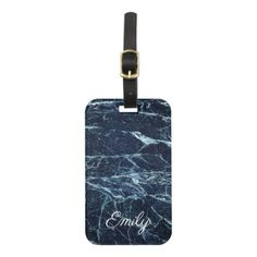 Blue modern marble Personalized Name Bag Tag - monogram gifts unique design style monogrammed diy cyo customize