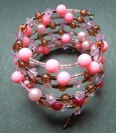 Memory Wire pretty in pink Beaded Bracelet by RedRadishStudio, $14.95 Pretty In Pink, Pearl Necklace, Wire, Beaded Bracelets, Jewellery, Pearls, Studio, Handmade, Fashion