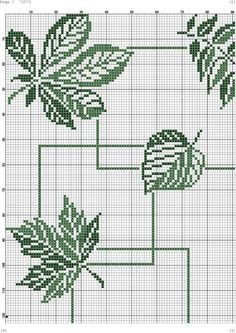 Cross Stitch Borders, Cross Stitch Flowers, Cross Stitch Designs, Cross Stitching, Cross Stitch Embroidery, Embroidery Patterns, Cross Stitch Patterns, Crochet Leaf Patterns, Crochet Leaves