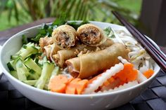 Bun Cha Gio (Vietnamese Egg Rolls and Vermicelli Salad) My all time favorite comfort food. So easy to make!