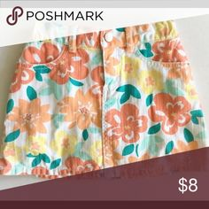 Gymboree Skirt Denim miniskirt from Gymboree. From the Blooming Nautical line and has a gorgeous, multi-color bright floral pattern. In very good condition! Gymboree Bottoms Skirts