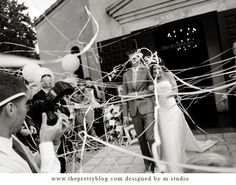 CEREMONY | Something really amazing about this look - streamers instead of rice - easier to clean up