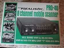 Realistic For Radio Shack Pro-40 8 Channel Mobile Scanner In