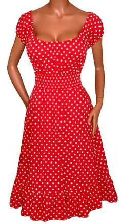 STUNNING RED WHITE POLKA DOTS ROCKABILLY PEASANT DRESS Plus Size