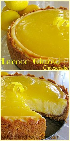 Lemon Glazed Cheesecake: One slice is never enough of this cheesecake. The rich filling and golden glaze will tempt your taste buds! The rich filling and golden glaze will tempt your taste buds! Lemon Desserts, Lemon Recipes, Just Desserts, Sweet Recipes, Delicious Desserts, Dessert Recipes, Yummy Food, Lemon Cheesecake Recipes, Mango Cheesecake