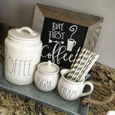 But First Coffee Chalkboard Sign - esszimmer dekoration Coffee Nook, Coffee Bar Home, Home Coffee Stations, Coffee Corner, Coffee Area, Kitchen Coffee Bars, Coffee Kitchen Decor, Coffee Latte, But First Coffee