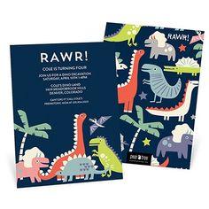 Dinosaur Rawr Kids Birthday Invitations