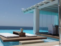 Cavo Tagoo, Mykonos, Greece--this is how I want my pool area! My Pool, Pool Bar, Tenerife, Oh The Places You'll Go, Places To Travel, Travel Destinations, Cavo Tagoo Mykonos, Luxury Villa Rentals, Hotels And Resorts