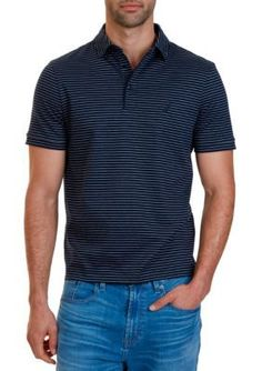 Nautica Navy Classic Fit Striped Polo Shirt