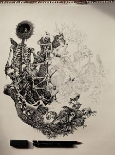 Showcase of brilliant intricate drawings of DZO Olivier. He is a France based graphic designer, a self-taught painter and illustrator who is graduated Magazine Illustration, Art And Illustration, Ant Drawing, Arte Horror, Art Plastique, Dark Art, Cool Art, Doodles, Artsy