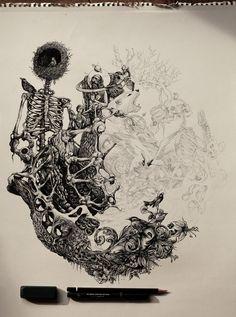 GAIA CALLING - biofusion2 by DZO Olivier, via Behance #illustration #drawing #art