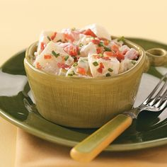 "Bacon & Gorgonzola Potato Salad Recipe -Dressed in a rich, creamy sauce flavored with Gorgonzola cheese, chives and bacon, this potato salad is sure to be a hit. ""I like to make it ahead so the flavors have time to blend."" Barbara Spitzer - Lodi, California"