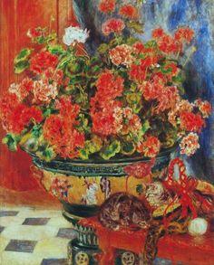 Geraniums and Cats - Pierre-Auguste Renoir Paintings Renoir Paintings, Paintings I Love, Painting Prints, Fine Art Prints, Oil Paintings, Cat Prints, Pierre Auguste Renoir, Claude Monet, August Renoir
