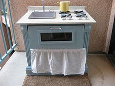 Play kitchen from a nightstand. What an amazing idea from a fabulously creative mom!!