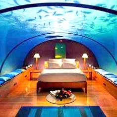 Under water hotel room - so cool but I think id be terrified...