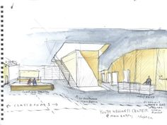 Start sketching. - Steven Holl's Watercolor Sketches