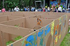 Giant cardboard maze lots of other great church outdoor ideas on THIS BLOG