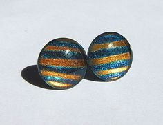 Gold Bars - 14mm shimmering teal with gold stripes glass post earrings - free shipping to USA