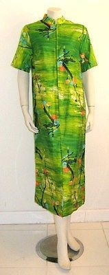 VINTAGE POLYNESIAN DRESS ALICE POLYNESIAN FASHIONS GREEN COTTON 1960's size S | eBay