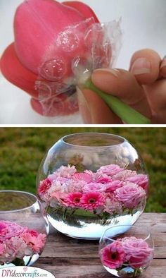 Use bubble wrap for floating flowers. -- 13 Clever Flower Arrangement Tips & Tricks Use bubble wrap for floating flowers. — 13 Clever Flower Arrangement Tips & Tricks Use bubble wrap for floating flowers. — 13 Clever Flower Arrangement Tips & Tricks Summer Table Decorations, Diy Party Decorations, Diy Centerpieces, Birthday Decorations, Graduation Centerpiece, Easter Centerpiece, Fishbowl Centerpiece, Bridal Shower Centerpieces, Graduation Decorations