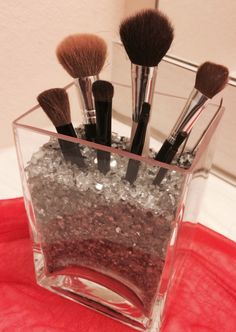 DIY Make-up Brush holder. IKEA Rektangel vase and Kulort metallic chipped stones. Easy to make!!
