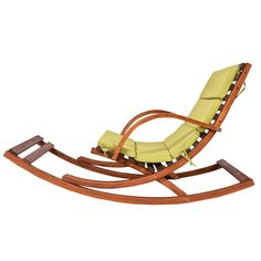This wooden rocking lounge chair gives you a comfortable place to relax on your porch or patio and enjoy the outdoors. Constructed of solid hardwood, this outdoor rocking chair is durable and has a weight capacity of up Outdoor Rocking Chairs, Outdoor Chair Cushions, Green Cushions, Patio Bench, Glider Chair, Main Door Design, Wood Slats, Garden Chairs, Outdoor Seating