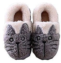 MiYang Winter Women/Kids Family Cute Cat Warm House Slippers Booties