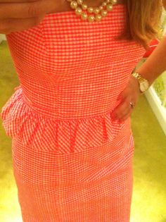 Orange gingham dress with mini pep. Gingham Dress, Pink Gingham, Peplum Dress, Preppy Style, Style Me, Balmain, Valentino, Classy And Fabulous, Fashion Boutique