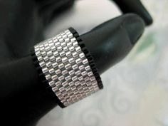 Peyote Ring in Silver and Black Seed Bead Band Beadwork Minimalistic Simplicity  size 4, 5, 6, 7, 8, 9, 10, 11, 12