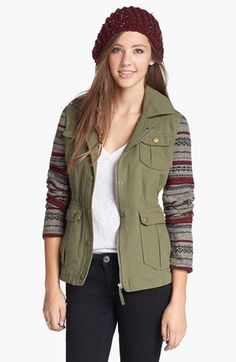 Jack Knit Sleeve Jacket (Juniors) available at // Size Small Jacket Style, Vest Jacket, Nordstrom Jackets, Cute Coats, Cute Jackets, Green Jacket, Autumn Winter Fashion, Winter Outfits, My Style