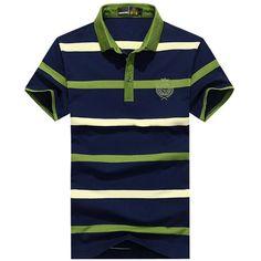 Mens Summer Striped Printed Turndown Collar Short Sleeve Casual Cotton Polo Shirt Sales on NewChic Mobile Polo Collar Shirts, Polo T Shirts, Golf Shirts, Men's Polos, Stripe Shirts, Green Polo Shirts, Outdoor Fashion, Summer Stripes, Cheap Shirts