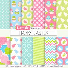 SALE 50% Easter digital paper: HAPPY EASTER with easter by Grepic $2.45