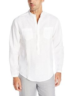 82361198612 Cubavera Men's Double Chest Pocket with Tucking Long Sleeve Popover Shirt,  Bright White, Small
