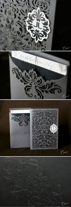 Invitation Trends by Ceci New York laser cut wedding invitations - intricate and gorgeouslaser cut wedding invitations - intricate and gorgeous Laser Cut Invitation, Laser Cut Wedding Invitations, Wedding Stationary, Invitation Design, Shower Invitations, Lace Invitations, Event Invitations, Invites, Wedding Paper