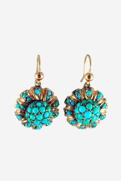 antique rose gold & turquoise earrings