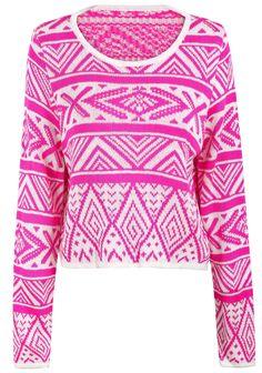 Rose Red Long Sleeve Geometric Pattern Crop Sweater US$24.26