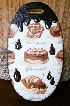sweets cutting board, decoupage