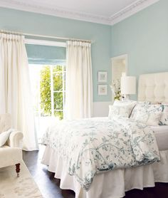 Ideas for the bedroom decor – romantic transitional style. Tufted headboard, white wallcovering in light green wall color Laura Ashley bedding. Decoration Bedroom, Home Decor Bedroom, Bedroom Furniture, Bedroom Retreat, Bedroom Desk, Cheap Furniture, Diy Bedroom, Spare Bedroom Ideas, Room Color Ideas Bedroom