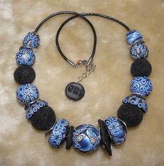 polymer clay blue beads fimo handmade