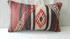 About 45 Years Old Anatolian Lumbar Cicim Kilim Pillow Cover.Only Pillow İnsert Not İncluded. 1.The Carpet Pillow Covers Designed And Product By Me And a Member Of My Shop . 2.The Rearward İs Cotton Fabric With Hidden Zipper. 3.Size 10 16 29×48 cm 4.All My Kilims Pillows İn My Etsy Shop Are Made From Anatolian Vintage Kilims Have Been Wash And Ready To Use. 5.Care :Dry Cleaning Only 6.This Features An Anatolian Design Turkey Made Using Only Vegetable Dye And Soft Naturel Wool .