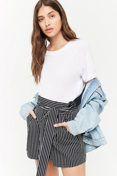 Belted Stripe High-Rise Shorts