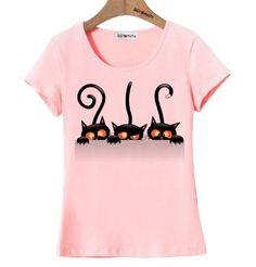 Vtipné dámské tričko s potiskem tří koček růžové – Velikost L Na tento  produkt se vztahuje b09da7bbb7