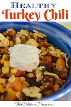Simple and healthy recipe for Turkey Chili with beans, corn and hominy. Great pantry recipe for healthy turkey chili everyone will love. #turkeychili #healthychili Barbecue Recipes, Grilling Recipes, Crockpot Recipes, Bbq, Easy Crowd Meals, Make Ahead Meals, Easy Chicken Recipes, Easy Healthy Recipes, Dinner Dishes