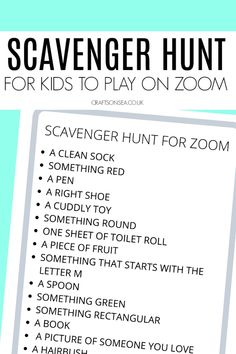 Scavenger Hunt for Zoom (FREE Printable for Kids) - Crafts on Sea games for kids ideas Scavenger Hunt Birthday, Scavenger Hunt For Kids, Fun Activities To Do, Learning Activities, Indoor Activities, Family Activities, Games For Kids Classroom, Virtual Games For Kids, Food Games For Kids