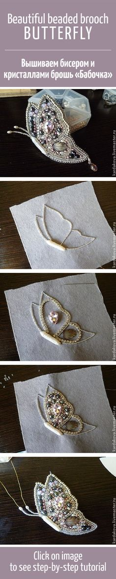 """Beautiful beaded brooch Butterfly tutorial / """"Лунная б. Beading Projects, Beading Tutorials, Beading Patterns, Beaded Brooch, Beaded Jewelry, Handmade Jewelry, Handmade Art, Bead Crafts, Jewelry Crafts"""