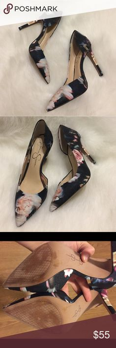 Floral Pointy Toe Pumps Beautiful black with multi colored print. Worn 2-3 times. Feel free to ask questions! Jessica Simpson Shoes Heels