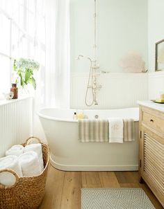 When it comes to a spa-like environment in the bathroom, soft shades of blue might be the most obvious choice, but pale green can create a similar soothing effect