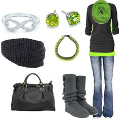 """""""lime green and grey"""" by itsasecret-87 on Polyvore"""