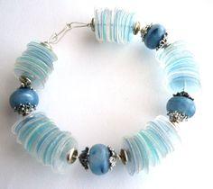 Blue bracelet eco-friendly made of recycled plastic bottles & chunky beads - upcycled jewelry, eco chic, aqua, sustainable