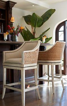 1940s French Upholstered Barrelback Barstool Bar